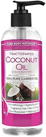 Pure Body Naturals 100% Pure Fractionated Liquid Coconut Oil for Hair, Skin, and Carrying Essential Oils, 16 Fl. Ounce