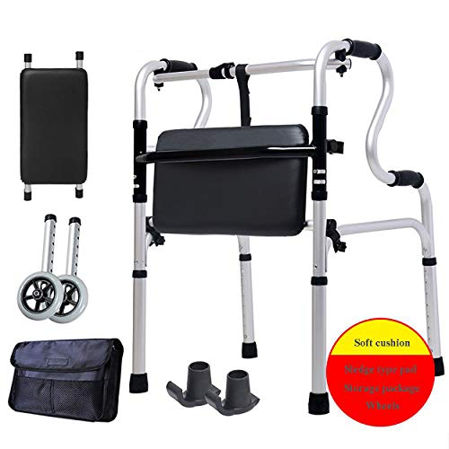 Huhulala Elderly Wheeled Walker Aid Crutches Four-Legged Leather Cushion for Seniors with Seat Folding Slides Rolling Ultra Walkers with Hand Grip Lightweight Bath Chair for Woman and Men