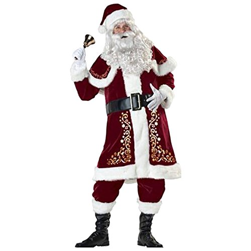 ZNFQC Men Christmas Santa Claus Costume (Deluxe Buddy The Elf Costume)