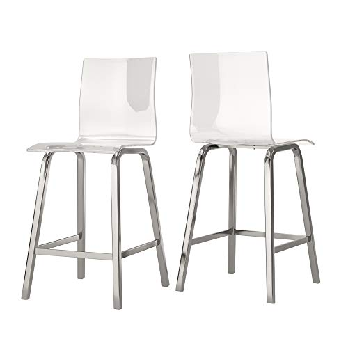 - Union 5 Home Avallon Glam Transparent Clear Acrylic Swivel High Back Bar Stools - Set of 2