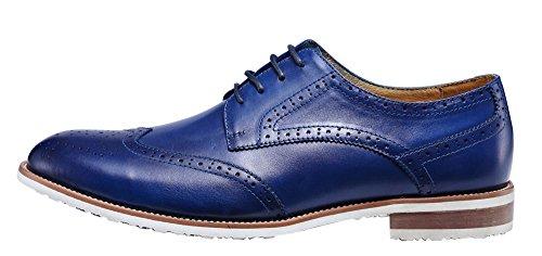 ROYAL WIND Herren Neue Casual Blau Leder Smart Formal Schnürschuhe