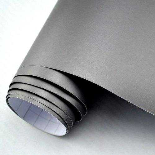 TipTopCarbon Autofolie Matt silber-grau BLASENFREI 2m x 1,52m mit Luftkan/äle 3D Flex