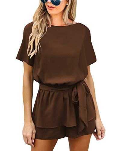 Utyful Women's Casual Short Sleeve Belted Keyhole Back One Piece Brown Jumpsuit Romper Size Medium (Fits US 8 - US 10) ()
