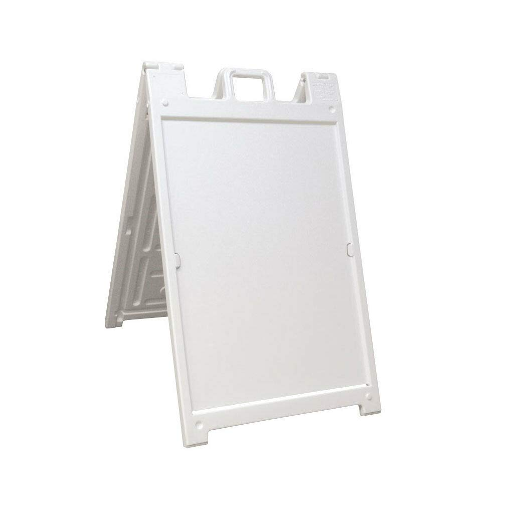 46 White Portable Folding Plastic Double Sided Sidewalk Sign Stand Display Restaurant Promoting Business Hinges Lock Up A Frame with Ebook