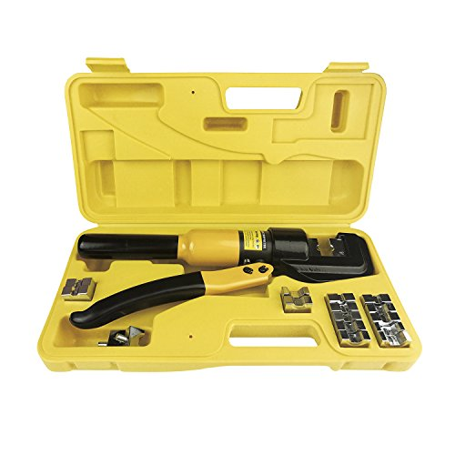Cable Wire Crimper Tool (10 Tons Hydraulic Wire Battery Cable Lug Terminal Crimper Crimping Tool W/Dies)