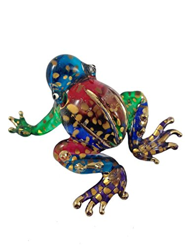 TINY CRYSTAL FROG HAND BLOWN CLEAR GLASS ART FROG FIGURINE ANIMALS COLLECTION GLASS (Crystal Frog Figurine)