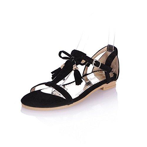 Odomolor Mujeres Sólido Gamuza(Imitado) Mini Tacón Puntera Abierta Sandalias de vestir Negro