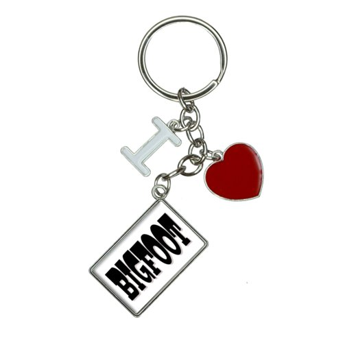 Bigfoot I Heart Love Keychain Key Ring