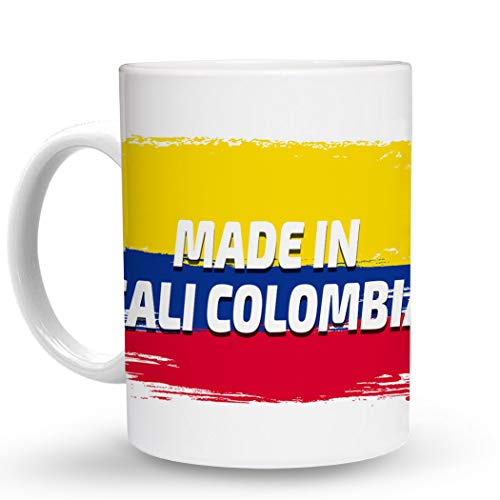 Makoroni - MADE IN CALI COLOMBIA Colombian Colombia Flag - 11 Oz. Unique COFFEE MUG, Coffee Cup (Best Coffee In Cali Colombia)