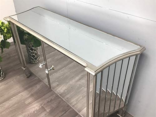 Interiors In Vogue Mirrored Sideboard Console Chest of 2 Cupboard Cabinet Glass Furniture Venetian