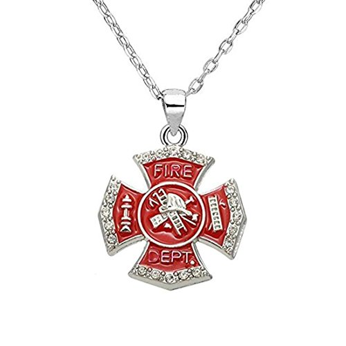 Huilin Firefighter Red Enamel Cross Pendant Fire Dept Necklace Personalized Profession Jewelry