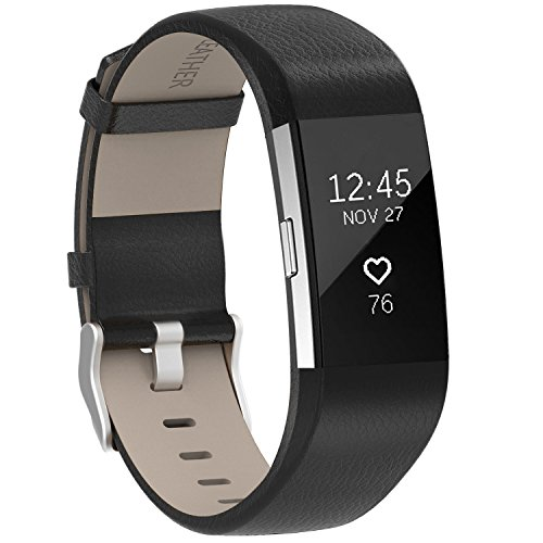 Henoda Replacement Bands Compatible Fitbit Charge 2, Classic Genuine Leather Charge 2 Band Fitness Wristband Women Men Small Large Black
