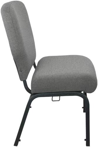 Flash Furniture 20.5 Church Chairs, Fossil Fabric Black Frame