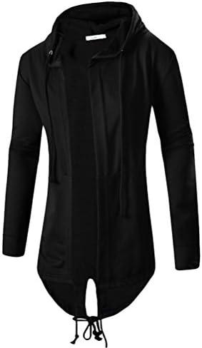 男性のストリートファッション Men's Soft Breathable Comfort Open Edge Long Hooded Tops Cardigan sweatshirt