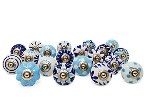 (Ceramic Knobs Hand Painted Set of 20 unique Designs White & Blue Perfect For Cabinet, Drawer, Dresser, Kitchen Cupboard Door Pulls. DIY friendly)