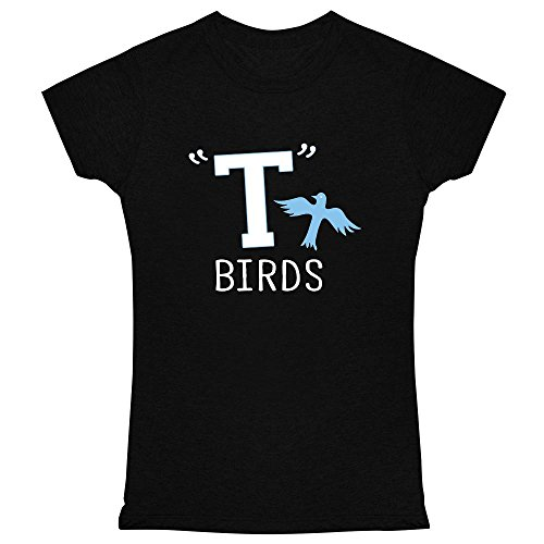 Jacket Womens Leather 1960's (Pop Threads T Birds Gang Logo Black 2XL Womens Tee Shirt)