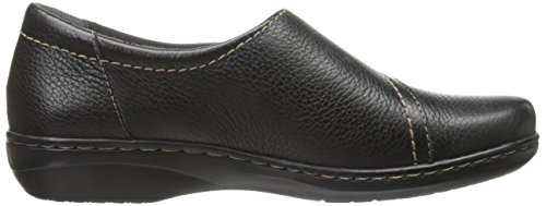 Secure Women's Black Clarks Leather Evianna Flat zZn1fq