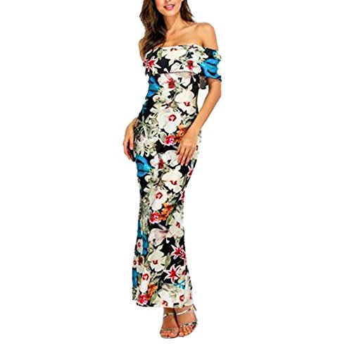 Long Dress, Han Shi Women Ruffle Off Shoulder Floral Print Slash Neck Dress Skirt (L) (Wine If The Month Club)