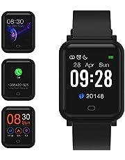 Fitpolo Smart Watch Damen,Herren Pulsmesser mit Farbdisplay,IP68 Wasserdichter Automatischer Wecker Bildschirm Smart Watch Handy für iPhone Android