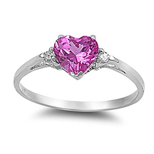 Sac Silver  Sterling Silver Rose Pink Simulated CZ  Heart Promise Ring, - Pink Promise Rings