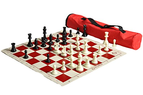 The House of Staunton US Chess Quiver Chess Set Combo - Red - by US Chess Federation (Set Chess Red)
