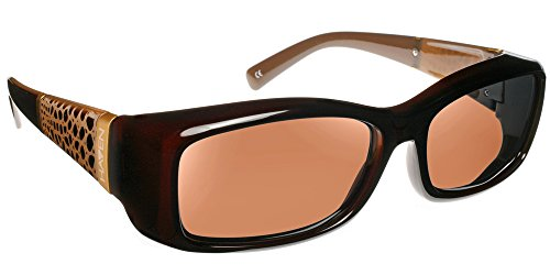 Haven Fits Over Sunwear Women's Freesia 1 Polarized Rectangular Sunglasses,Chocolate,59.7 - Medical Sunglasses