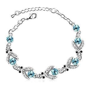 TPS Alloy Crystal Rhodium Charm Bracelet