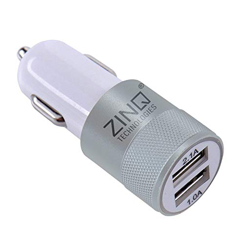 Zinq Technologies 3.1A Dual Port Car Charger  White, Cable Included
