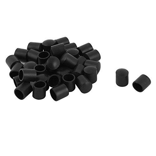 DealMux Goma Inicio Ronda Patas de la Silla de Tubo Protector de la Tabla Insertar Dia 10mm 22 Piezas Negro