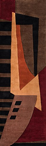 - Momeni Rugs NEWWANW-22POM2680 New Wave Collection, 100% Wool Hand Carved & Tufted Contemporary Area Rug, 2'6