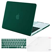 Mosiso Plastic Hard Case with Keyboard Cover with Screen Protector for Macbook Pro 13 Inch with Retina Display No CD-ROM (A1502/A1425), Peacock Green