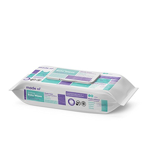 Organic Baby Wipes by MADE OF - Soothing Soft for Sensitive Skin and Eczema - NSF Organic and EWG Verified - Made in USA - Fragrance Free/Unscented (80 Count (1 Pack))