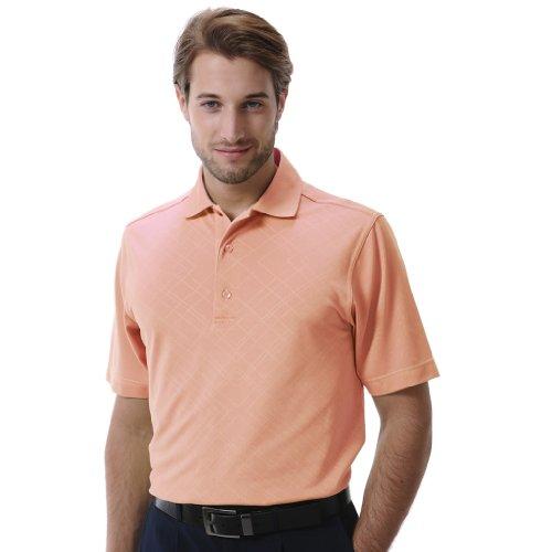 Plaid Fairway (Monterey Club Mens Dry Swing  Plaid Emboss Solid Shirt #1207 (Peach Nectar, X-Large))