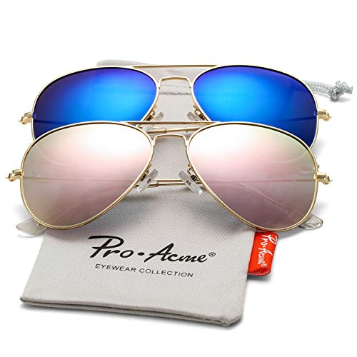 (Pro Acme Classic Polarized Aviator Sunglasses for Men and Women UV400 Protection (2 Pairs) Gold Frame/Pink Mirrored Lens + Gold Frame/Blue Mirrored Lens)
