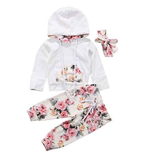 Infant Pullover - Newborn Baby Boy Girl Long Sleeve Deer Romper Pullover Hooded Tops Pants 2Pcs Sweatshirt Outfits Set (White, 6-12 Months)