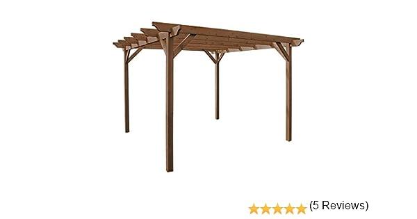 Rutland County Garden Furniture Estructura de Madera jardín pérgola 3, 6 m x 3, 6 m – marrón rústico – esculpido Rafter: Amazon.es: Jardín
