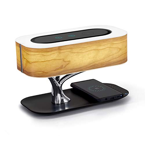 Ampulla Bedside Lamp with Bluetooth Speaker and Wireless Charger, Sleep Mode Stepless Dimming AMP