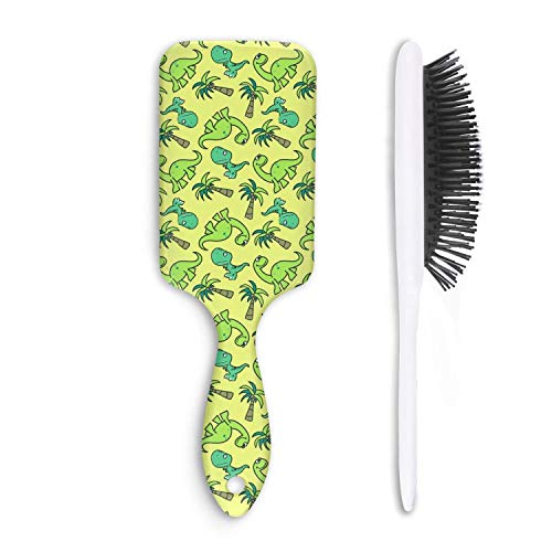 Unisex Detangle Hair Brush Cute Dinosaur Seamless Pattern Boar Bristle Paddle Hairbrush for Wet, Dry, Thick, Thin,Curly ()