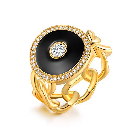 Barzel 18k Gold Plated Cubic Zirconia Black, White & Red Enamel Ring (Black, 7) (Black Cubic Zirconia Enamel)