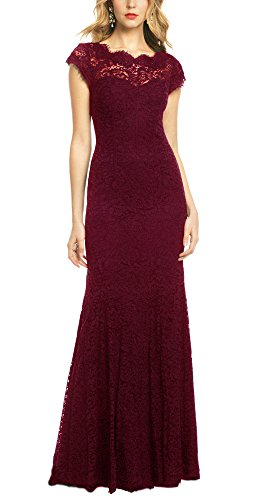 REPHYLLIS Women's Retro Floral Lace Vintage Wedding Maxi Bridesmaid Long Dress(XXL,DarkRed) (Dress Mother Bridesmaid Long)