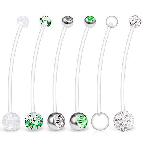 Ruifan 6PCS Mix Style Pregnancy Sport Maternity Flexible Bioplast Belly Navel Button Ring Retainer 14G 1 1/2Inch (38mm) - Green ()