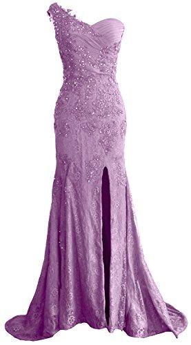 MACloth Women One Shoulder Long Prom Dress Mermaid Lace Formal ...