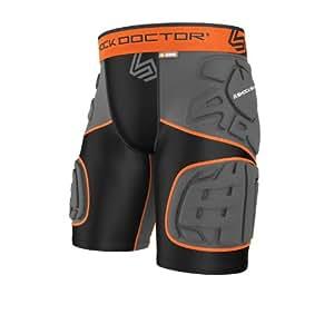 Shock Doctor Youth Ultra Shockskin 5-Pad Extended Thigh Impact Shorts, Black/Grey, Medium