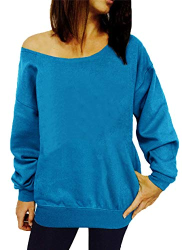 GSVIBK Womens Black Sweatshirts Casual Off Shoulder Sweatshirt Long Sleeve Letter Printed Shirts Slouchy Pullover Blue 107-M