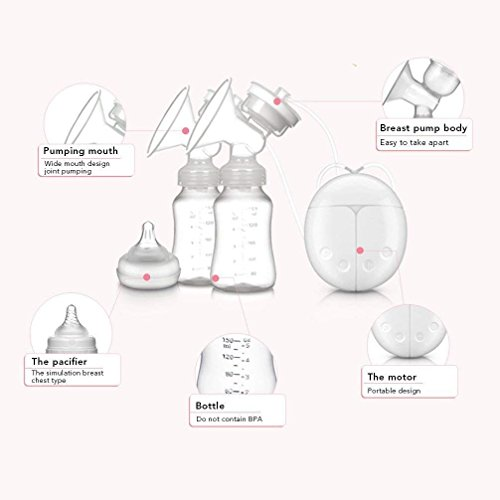 BTshine Breast Pump Double Electric - Breastfeeding Massager Milk Pump Rechargeable, Hospital Grade Material for Mom's Comfort by BTshine (Image #2)
