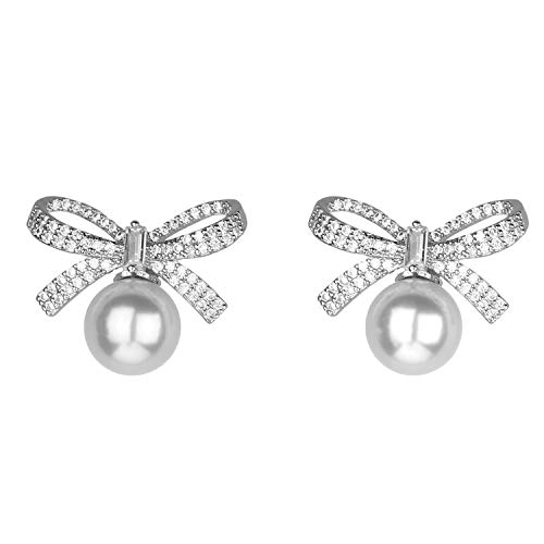 Jones New York Silver Ribbon Bow Crystal...