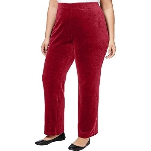 Womens Velour Lounge Pant - Karen Scott Womens Long Plus Lounge Velour Pull On Casual Pants PRUSSIAN RED 3X