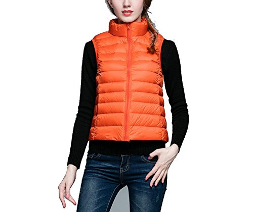 Femenino Delgado Chaleco De Down Collar Orange