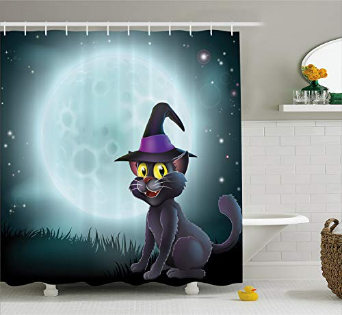 Lunarable Witch Shower Curtain, Halloween Witch Cat in a Pointy Hat in Front of a Big Full Moon on a Misty Night, Cloth Fabric Bathroom Decor Set with Hooks, 70