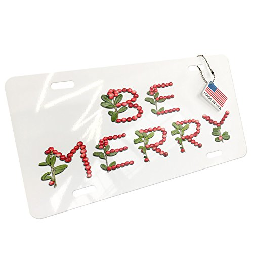 NEONBLOND Be Merry Cranberries Fruits Aluminum License Plate